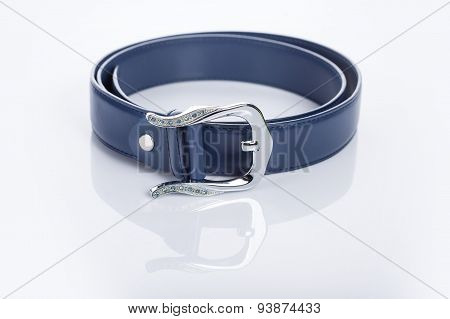 blue Women's belt with rhinestones