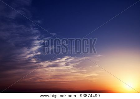 Sunset Sky With Clouds And Sun