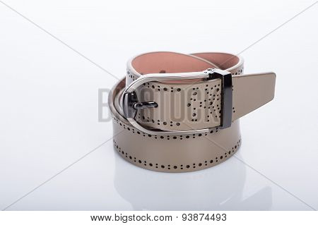 beige leather Women's belt with rhinestones