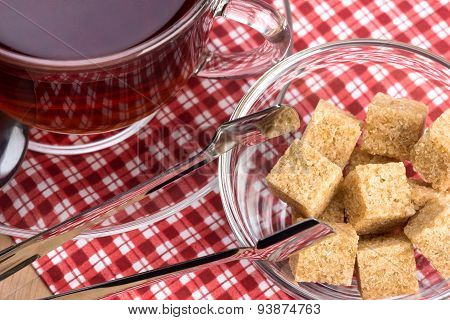 Brown Cane Sugar And A Cup Of Tea