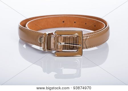 brown Women's belt with rhinestones