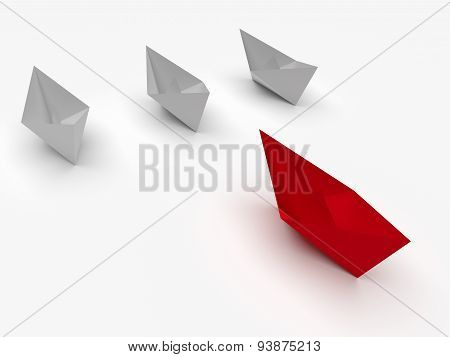 Leadership Concept. Red And White Paper Boats