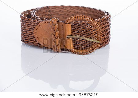 brown Women's belt with rhinestones