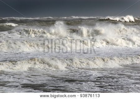 Heavy seas with offshore wind.
