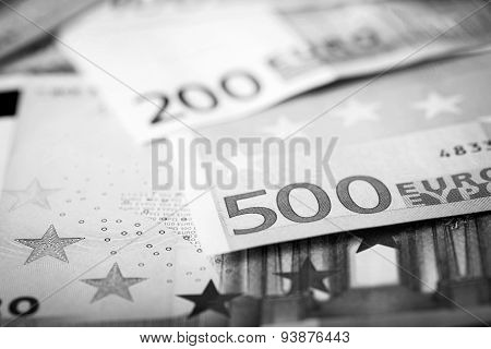 Closeup Of Euro Banknotes