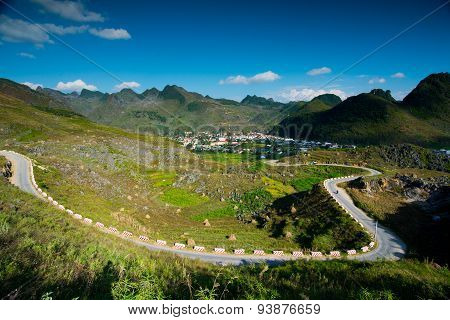 Meovac town with mountain landscape in Hagiang, Vietnam
