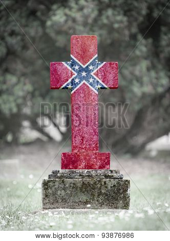 Gravestone In The Cemetery - Confederation Flag