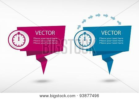 Stopwatch On Origami Paper Speech Bubble Or Web Banner, Prints