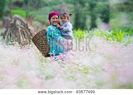 A woman with her child in a buckwheat flower field in Hagiang, Vietnam