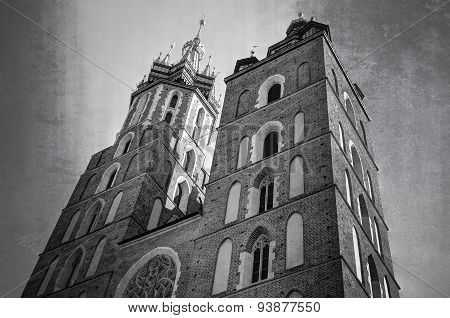 St. Mary's Church in Krakow in black and white.