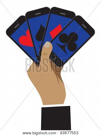 The Smartphone Is Shown As Playing Cards. Business Is Shown As A Risk And Play.