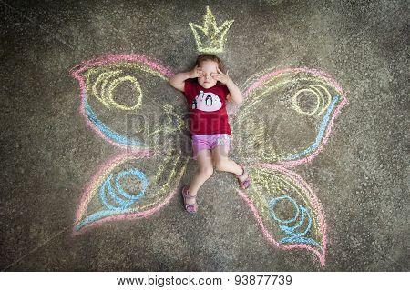 Little girl Butterfly, HIDE AND SEEK.