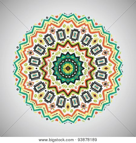 Ornamental colorful  round geometric pattern in aztec style