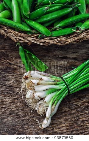 leek and pea pods