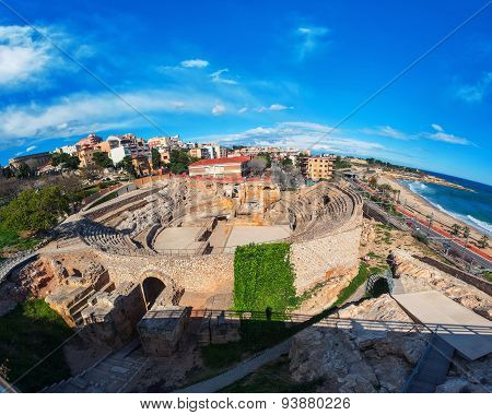 Tarragona, Spain With Sea And Old Roman Theater