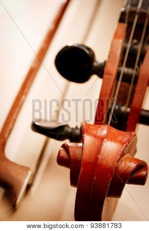 Close Up Of Violin Scroll And Pegbox