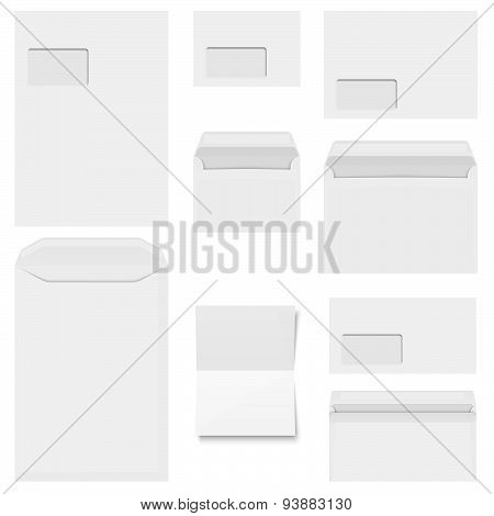 Collection Of White Envelopes With Copy Paper