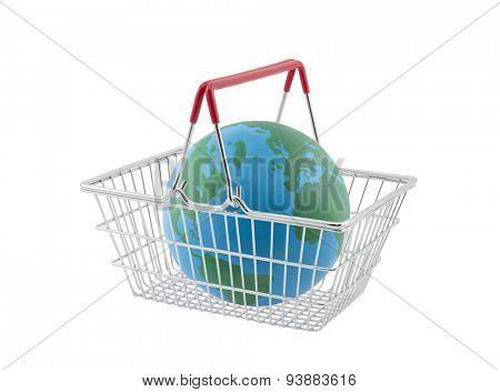Shopping basket with globe isolated on white background