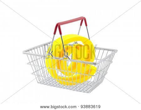 Shopping basket with email symbol isolated on white background