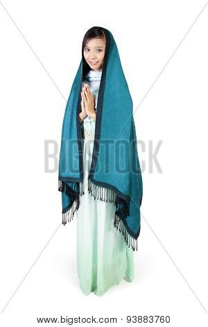 Modern Islamic Fashion, Full Body On White Background