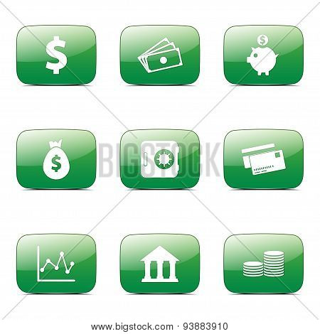 Financial Banking Square Vector Green Icon Design Set