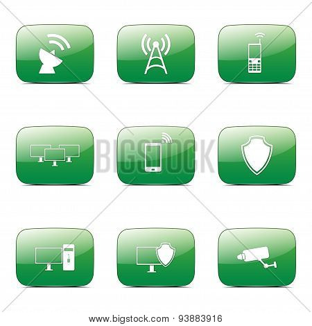 Telecom Communication Square Vector Green Icon Design Set