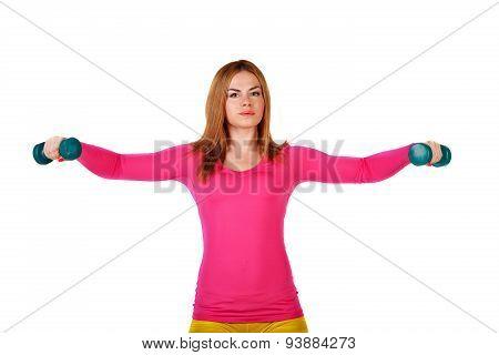Sportswomen Do Exercises With Dumbbells.