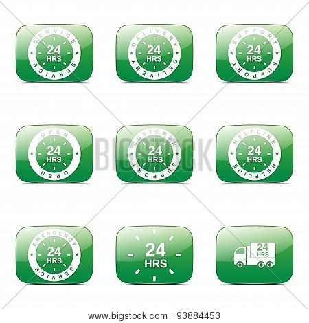 24 Hours Services Square Vector Green Icon Design Set