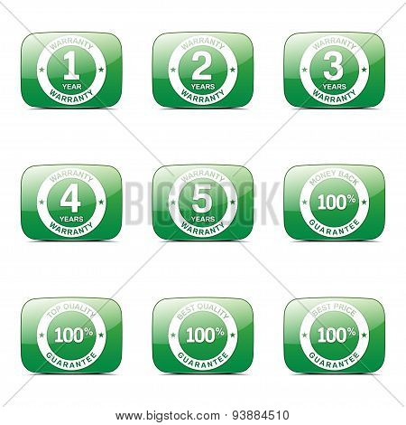 Warranty Guarantee Seal Square Vector Green Icon Design Set