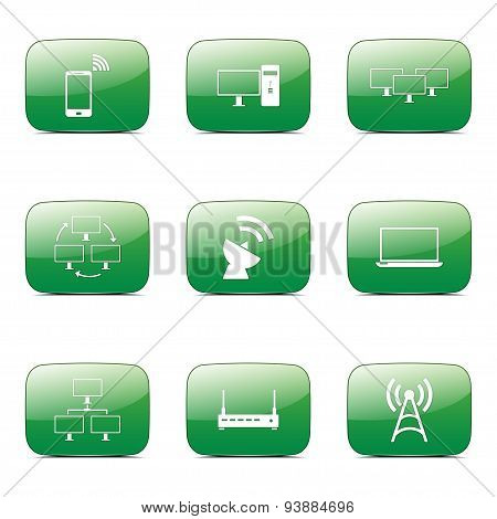 Telecom Communication Square Vector Green Icon Design Set 2