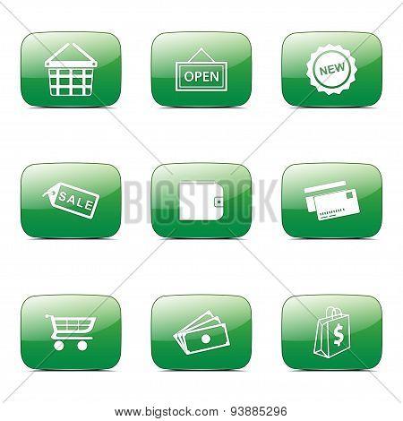 Shopping Sign Square Vector Green Icon Design Set 2
