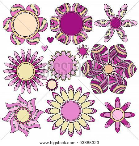 Pink and yellow flower and heart collection