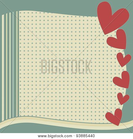 Background with hearts, stripes and dots