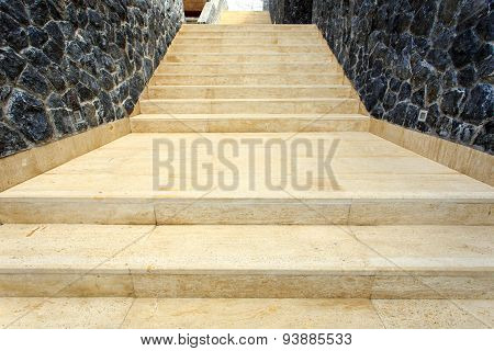 Natural Travertine Staircase In The House