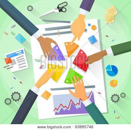 Hands Point Finger Pie Diagram, Businessmen Show Finance
