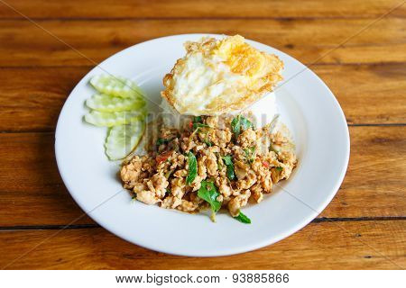 Thai Spicy Food Basil Chicken Fried Rice Recipe With Fried Egg, Thai Food
