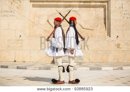 ATHENS, GREECE - CIRCA APR, 2015: Greek soldiers Evzones dressed in full dress uniform, refers to the members of the Presidential Guard, an elite ceremonial unit, active from 1833 to present.