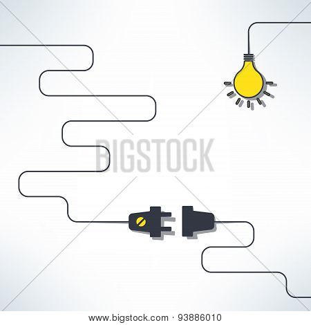 Vector wire plug and socket with light bulb background in simple flat design. Inspirational creativi