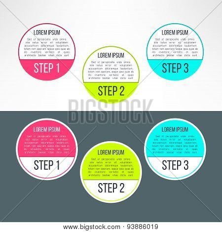 Vector business process steps circles infographics template. Colorful options choice, instruction or
