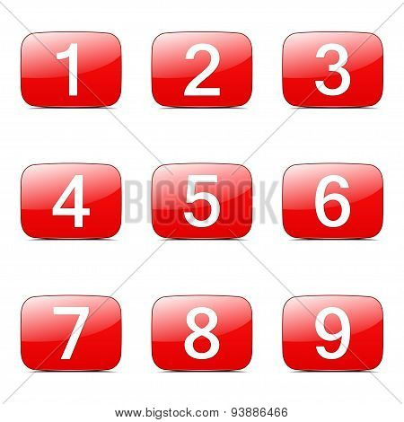 Numbers Counting Square Vector Red Icon Design Set