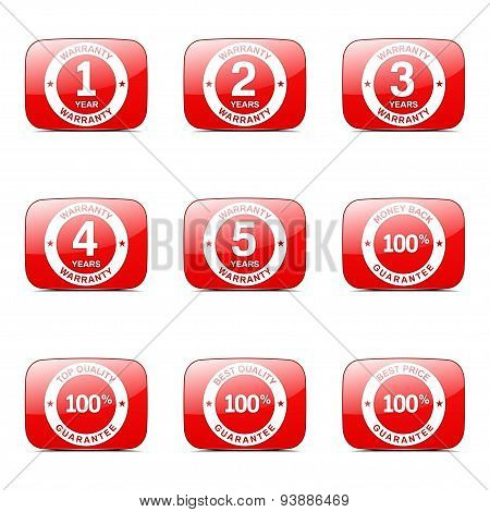 Warranty Guarantee Seal Square Vector Red Icon Design Set