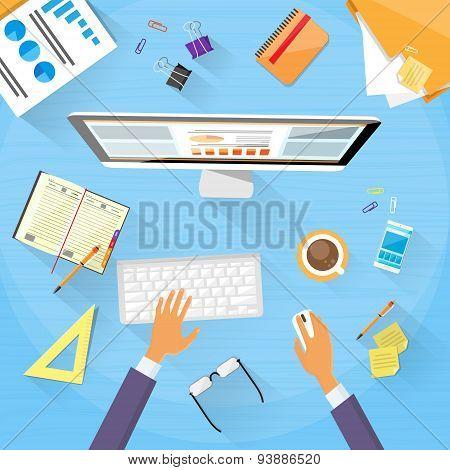 Businessman Workplace Desk Hands Working Desktop Flat