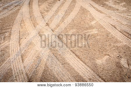 Car Tire Mark On Sand