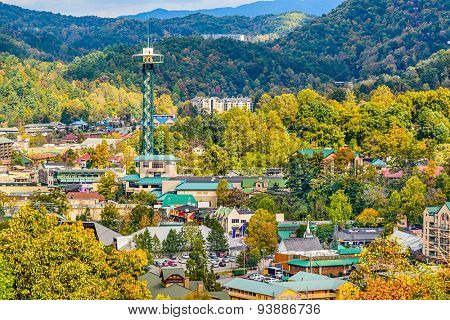 Gatlinburg, Tennessee, USA townscape in the Smoky Mountains.
