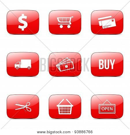 Shopping Sign Square Vector Red Icon Design Set