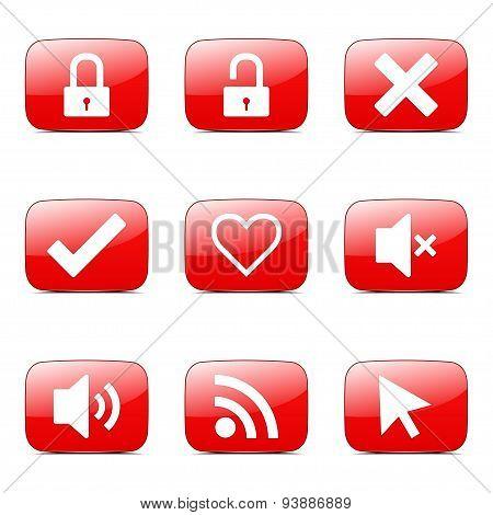 Seo Internet Sign Square Vector Red Icon Design Set 4
