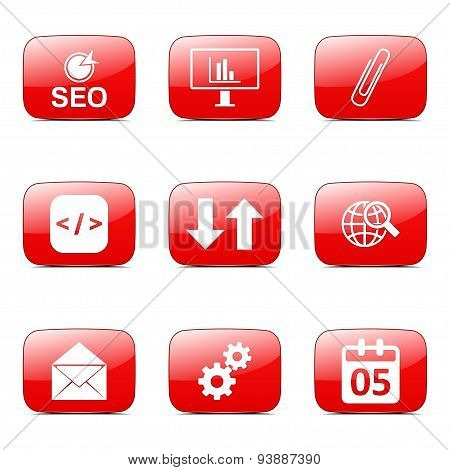 Seo Internet Sign Square Vector Red Icon Design Set 6