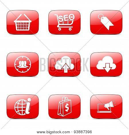 Seo Internet Sign Square Vector Red Icon Design Set 7