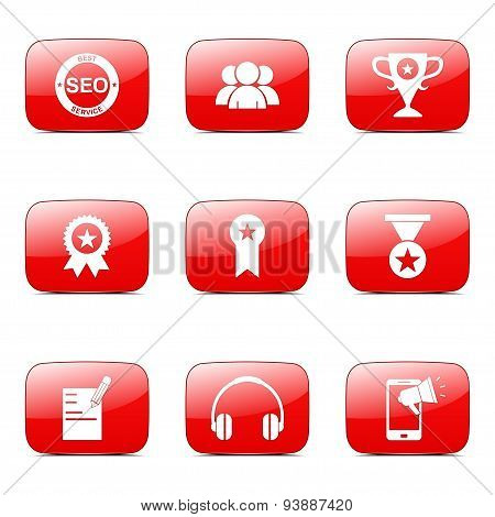 Seo Internet Sign Square Vector Red Icon Design Set 9