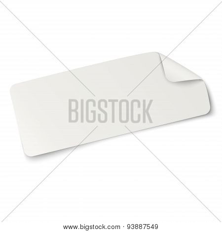 Rectangular Oblong Paper Sticker Note Isolated On White. Light From Upper Left.